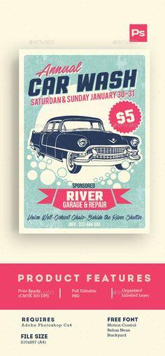 Car Wash Retro Style Flyer Template PSD #design Download: http://graphicriver.net/item/car-wash-retro-style/14392638?ref=ksioks