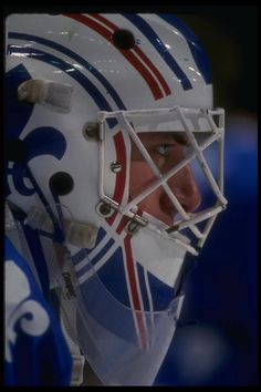 Goaltender Stephane Fiset of the Quebec Nordiques during a game versus the St Louis Blues at St Louis Arena in St Louis Missouri Mandatory Credit. Hockey Goalie, Hockey Games, Ice Hockey, Quebec Nordiques, Hockey Pictures, Goalie Mask, St Louis Blues, Good Ol, The St