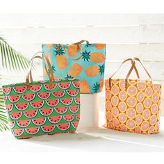 3 styles: pineapple, watermelon and grapefruit. Jute tote features all-over fruit print with vegan leather handles.  Laminated wipe-clean interior and interior pocket.