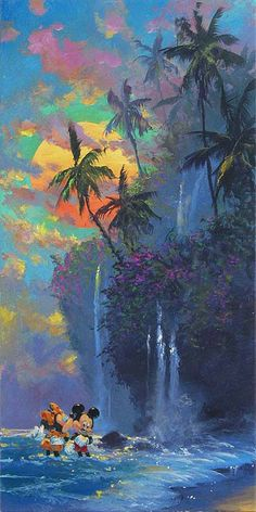 """""""A Kiss on the Beach"""" by James Coleman - Original Oil on Canvas, 30x15."""