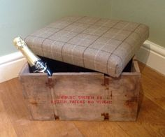 Woollen Tartan Upholstered Green or Red Footstool Ottoman with Rustic Waxed Wooden Crate Box - Ideal Gift or Present