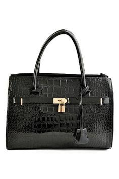 ROMWE | ROMWE Lock Embellished Black Tote, The Latest Street Fashion