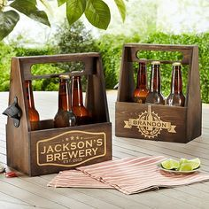 Wooden Beer Caddy from @pcgifts - Beer lovers will get carried away with our classic caddy. Perfect for carrying 6 of their own home brews, or mixing and matching bottles at the store.