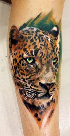 leopard tatoos | Dean Lawton - Color Leopard Tattoo
