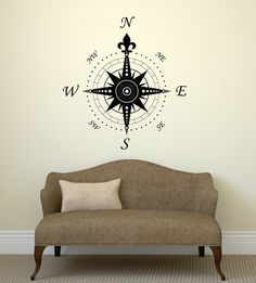 http://www.kitchendesigntrends.com/category/Wall-Decals/ Wall Decal Compass Rose Home Decoration Geography Travel Vinyl Stickers (ig2906) #Wallstickers4you