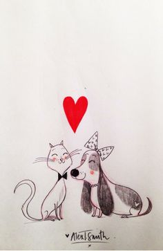 cat and dog illustration | Alex T. Smith.