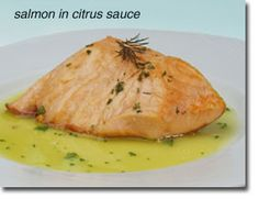 Salmon (Fish) in Citrus Sauce - Should be good on ANY fish. Fish, onion, garlic, lemon juice, orange juice, fennel seed (optional OR add as MRT Untested in Reintroduction/Phase 6), parsley, salt, pepper.