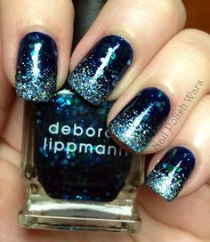 "China Glaze ""First Mate"" navy blue, Deborah Lippmann ""Across the Universe"", Funky Fingers ""Flashing Lights"" on tips"
