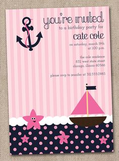 Nautical Girls Birthday Party Invitations Printable Digital File Pink and Navy Blue. $16.00, via Etsy. This is such an adorable party theme!!
