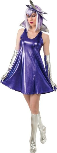 Amazon.com: Rubie's Costume Deluxe Miss Saturn Space Woman Dress Boot Tops and Headpiece, Purple/Silver, Small: Clothing