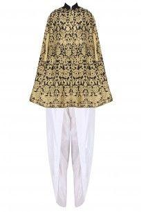 Black Zari Embroidered Kaftan with White Dhoti Pants