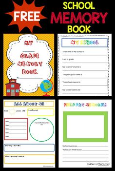 Use this free school memory book to capture your children's end of school year memories. End Of School Year, I School, School Ideas, School Projects, School Stuff, Preschool Memory Book, School Memory Books, Preschool Class, End Of Year Activities