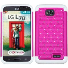 MYBAT Lattice Armor Case for LG Optimus L70 (Exceed 2) - Pink/White