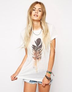 ASOS+T-Shirt+with+Feather+Print+in+Textured+Fabric