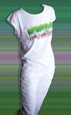 """Unique handpainted white t shirt """"Energy between two"""""""