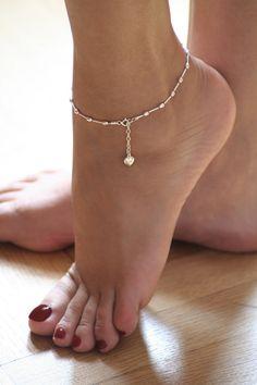 Sterling silver, ankle bracelet, feminine and delicate,