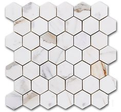 """$16.95 a Square Foot and Free Shipping Calacatta Gold Italian Marble 2"""" Hexagon Mosaic Honed prices valid for 2015 or until stocks last."""