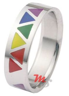 Gay pride Lesbian pride rainbow triangles ring at http://overtherainbowshop.com