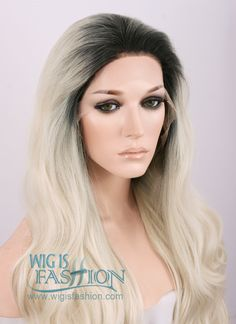 "18""-28"" Long Curly Black Mixed Blonde Ombre Customizable Lace Front Synthetic Hair Wig LF734C"