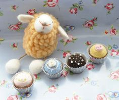 the yellow sheep with cup of cakes by Pingle Monster, via Flickr