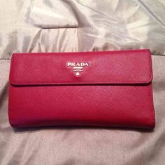 5b58b6bbf248 ❤️Prada Snap Wallet❤ 100% authentic Prada wallet! Red saffiano leather. 13  card holder. 4 slots inside plus a coin holder and a separate snap slot ...