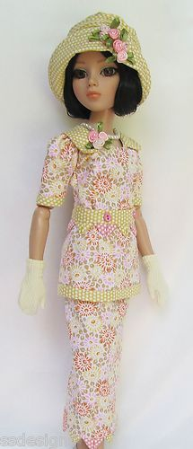 """OOAK-LADY-AMBER-IN-FULL-BLOOM-1920s-FOR-16-ELLOWYNE -  The top has a square neckline with ribbon blossoms on the left collar, and there's a peplum below the waistband, which features tiny """"shells"""" (a very '20s touch) under the band itself, and the skirt's hemline is also detailed with the shell edging, by ssdesigns via eBay SOLD 6/26/13  $464.99"""