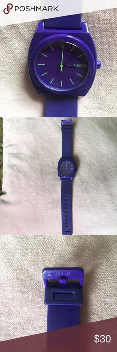 Nixon watch Nixon Minimal watch. Purple with light green numbers and second hand. 100% polycarbonate. Like new but because it hasn't been worn Needs new battery. Nixon Accessories Watches