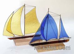 Stained glass sailboats.