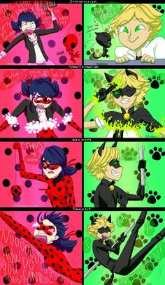Miraculous Ladybug & Chat Noir - Marinette and Adrien reactions - Cat Noir and Ladybug - Rise! A study in reactions