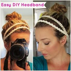 Easy DIY headband! Goes perfect with a messy top knot!