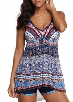 f6a1f17355d Cutout Back V Neck Printed Swimdress and Shorts