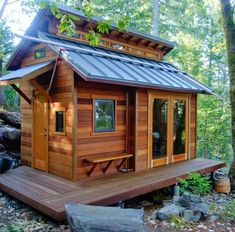 Tiny Houses For Rent, Tiny House Listings, Little Houses, How To Build A Log Cabin, Cabin Floor Plans, House Plans, Roof Colors, A Frame Cabin, Cabin In The Woods