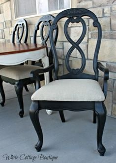 Black Dining Chair with Linen Upholstery by