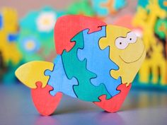 "Puzzle ""FISH"". Wooden toy for kids. Handmade puzzle game that develops motor skills. on Etsy, $10.00                                                                                                                                                                                 Mehr"