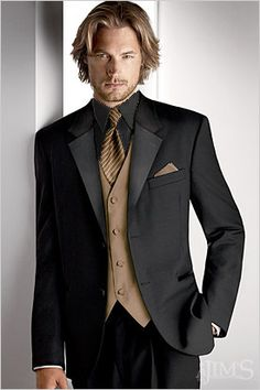 Stylish black and gold tux