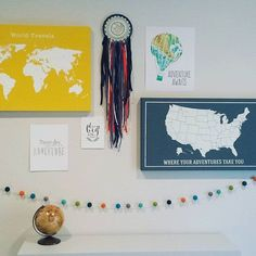Thank you so much to a sweet customer from Missouri for sharing this adorable #adventure themed #nursery photo with a #sheepfarmfelt #feltballgarland! This #Garland is called #ohtheplacesyoullgo and fits perfectly with all these other treasures I think.  Beautiful styling  #ihavethebestcustomers by sheepfarmfelt