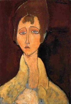 Woman with White Coat, 1917 by Amedeo Modigliani. Expressionism. portrait. Museu Nacional de Bellas Artes, Argentina