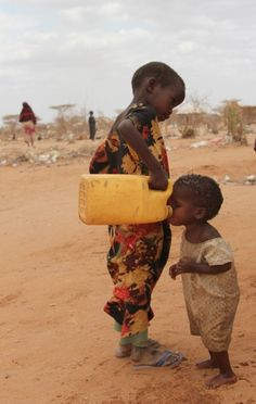 Sharing water. This is sweet but also breaks my heart a bit...
