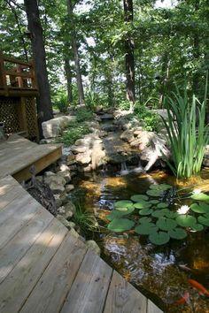 59 Gorgeous Backyard Ponds Water Garden Landscaping Ideas - About-Ruth Fish Ponds Backyard, Koi Ponds, Garden Ponds, Pond Landscaping, Natural Landscaping, Water Features In The Garden, Dream Garden, Landscape Design, Koi Pond Design