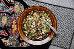 Moroccan Spiced Sprouted Buckwheat Salad with Preserved Lemon & Toasted Almonds