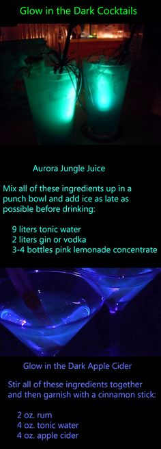 RECIPE Glow-in-the-Dark Cocktails. Thereu0027s always something so cool  sc 1 st  Pinterest & 252 best Halloween Glow-in-the-Dark Spooktacular Halloween Party ...
