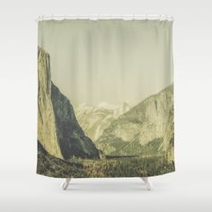 Customize your bathroom decor with unique shower curtains designed by artists around the world. Made from 100% polyester our designer shower curtains are printed in the USA and feature a 12 button-hole top for simple hanging. The easy care material allows for machine wash and dry maintenance. Curtain rod, shower curtain liner and hooks not included. Dimensions are 71in. by 74in.  Yosemite Valley in California, USA