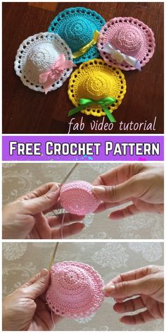 Crochet Mini Sun Hat Free Crochet Pattern – Video Crochet Mini Sun Hat Free Crochet Pattern – Video You are in the right place about. Crochet Barbie Patterns, Barbie Clothes Patterns, Crochet Barbie Clothes, Crochet Flower Patterns, Crochet Flowers, Knitting Patterns, Bonnet Crochet, Bag Crochet, Crochet Motifs