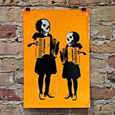 """""""Blissfully Departed"""" von Designer und Siebdrucker Ryan Gerdes, eine ausgewogene Komposition aus Verspieltheit und """"Memento mori"""", die feigens für Street Anatomy geschaffen wurde. Stichworte: #Accordion, #Art, #Screen, #Print"""