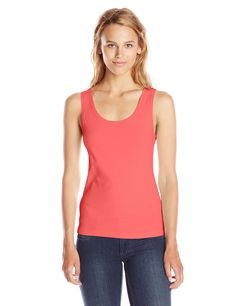 Three Dots Women's Rocker Tank, Pink Flash, X-Large