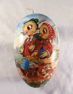 Vintage Large Paper Mache Candy Container Easter Egg with Colorful Ducks Design Made in Western Germany