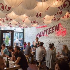 Paper lanterns crowd the ceiling and the branding, a pair of cherries re-imagined as eyes looking down, is a fun twist on a classic Japanese motif. The full-blown venue promises to be equally informal but until then, Supernormal Canteen will do very nicely indeed...