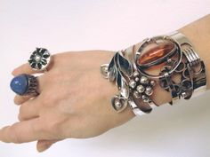 An array of silver bracelets by Erik Granit, Helsinki, Finland from the 1960's and 1970's.