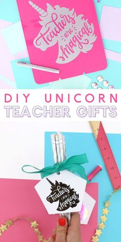 Make custom teacher appreciation gifts using these free unicorn cut files and printables! Teachers are magical! 🦄 gifts for teachers DIY Unicorn Teacher Gift Ideas Plotter Silhouette Cameo, Silhouette Cameo Tutorials, Silhouette Machine, Diy Unicorn, Unicorn Gifts, Teachers Day Gifts, New Teacher Gifts, Back To School Gifts For Teachers, Teacher Gift Baskets