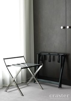 A select range of fully welded stainless steel luggage racks in brushed or polished and exquisite hardwood luggage racks for the bedroom environment.